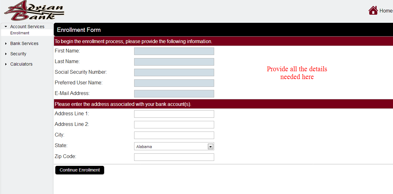 Enter the details then, click to continue enrollment.