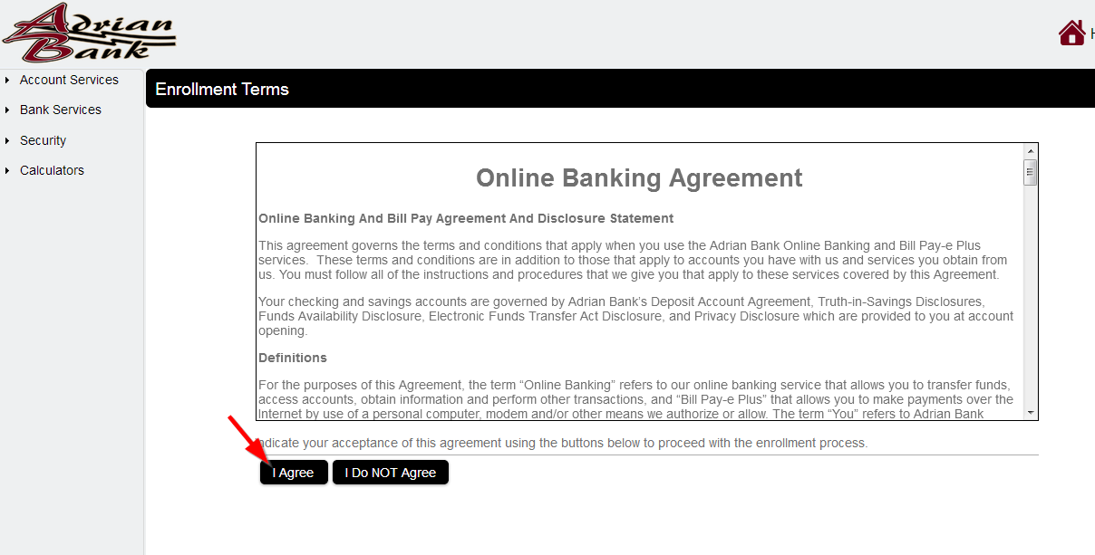 """Click to """"I Agree"""" on all online banking Agreements."""