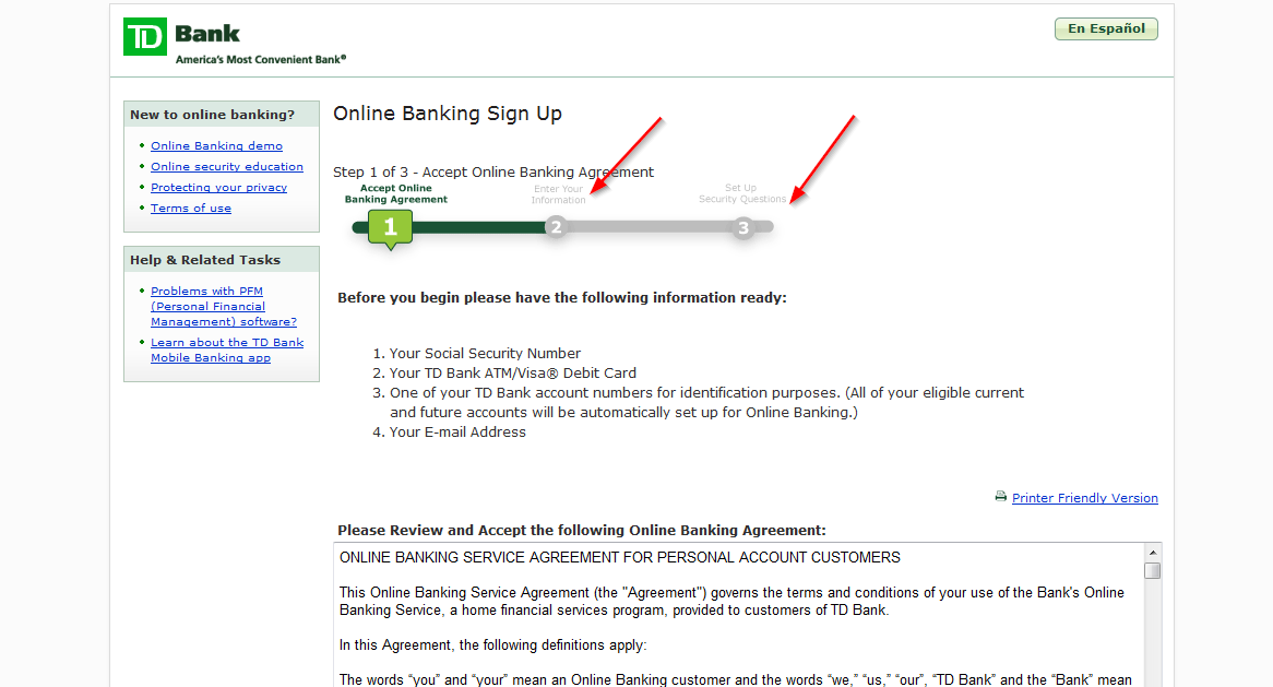 how to delete transaction history online banking td