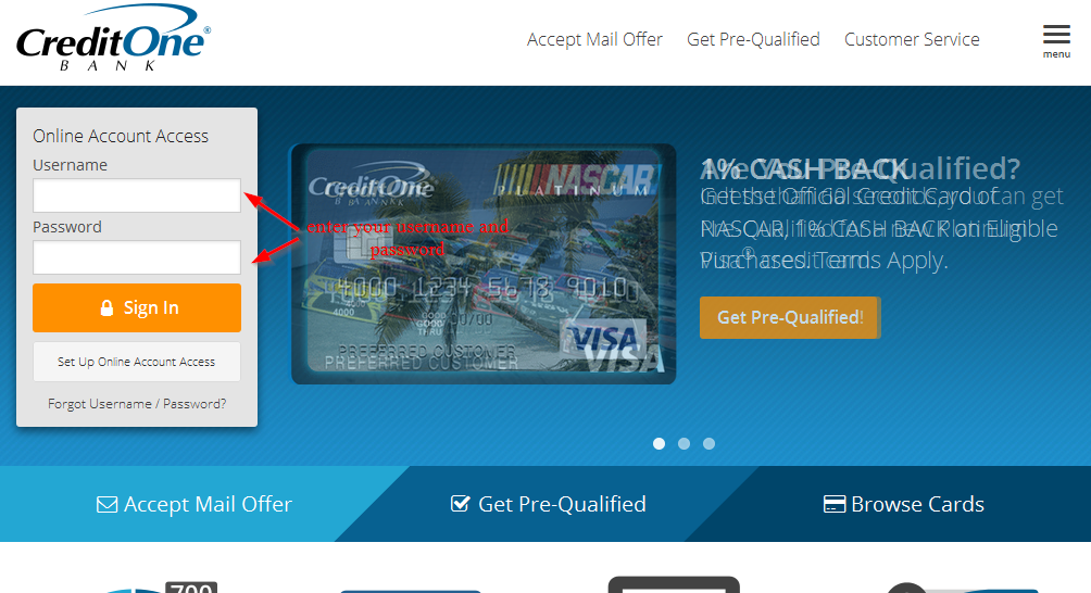 Credit one bank online payment